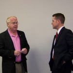 Representative Weter talking with Jeff Merrell